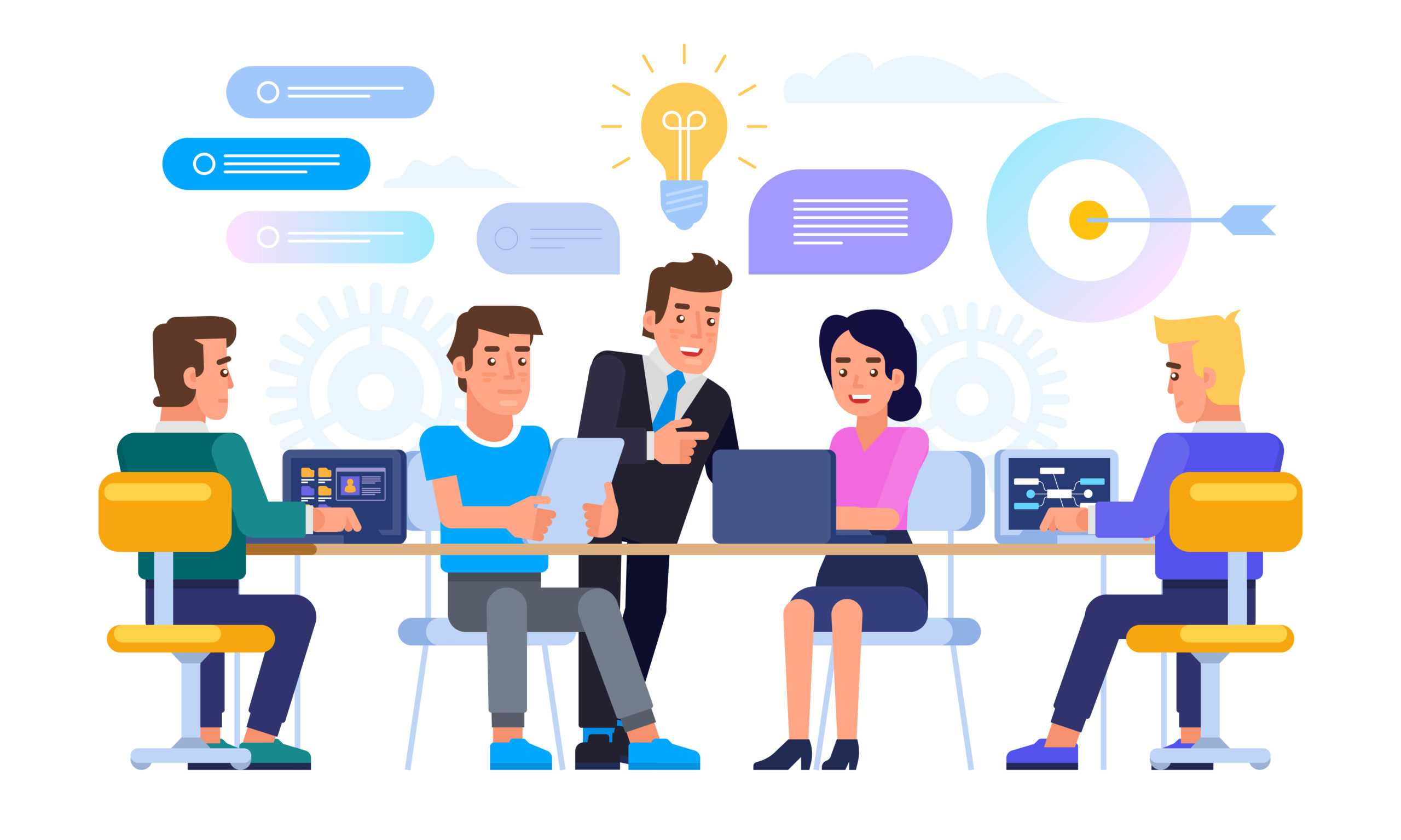 Business meeting concept. Office life. Brainstorming. Vector flat illustration