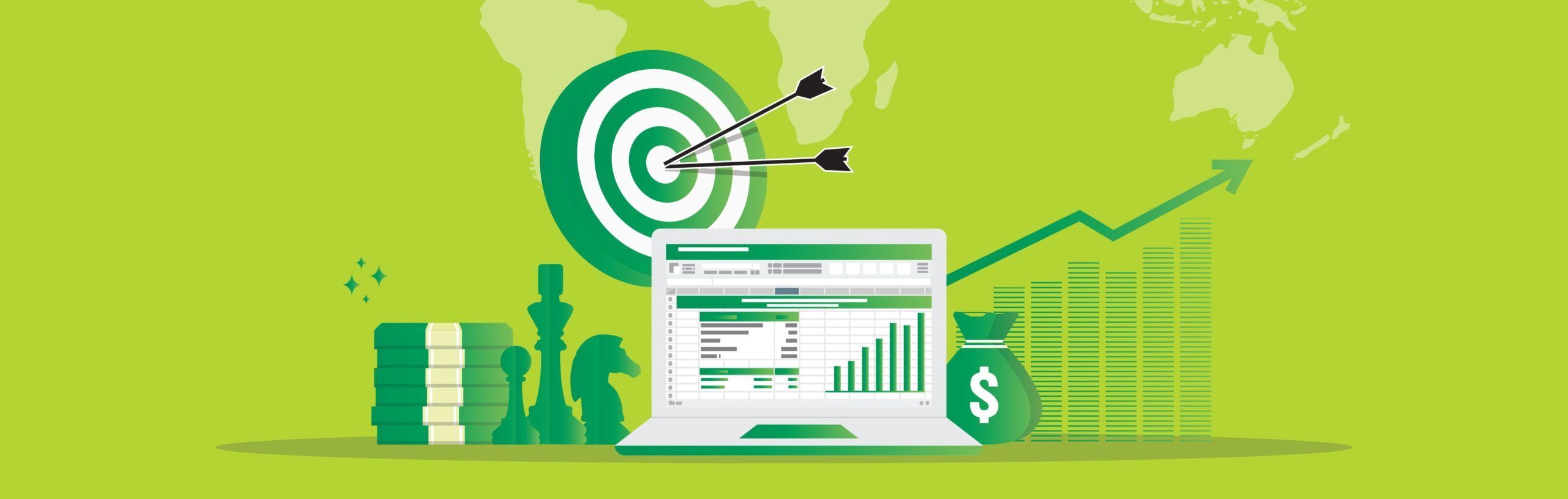 marketing strategy and business analysis audit with charts. Return on investment ROI concept