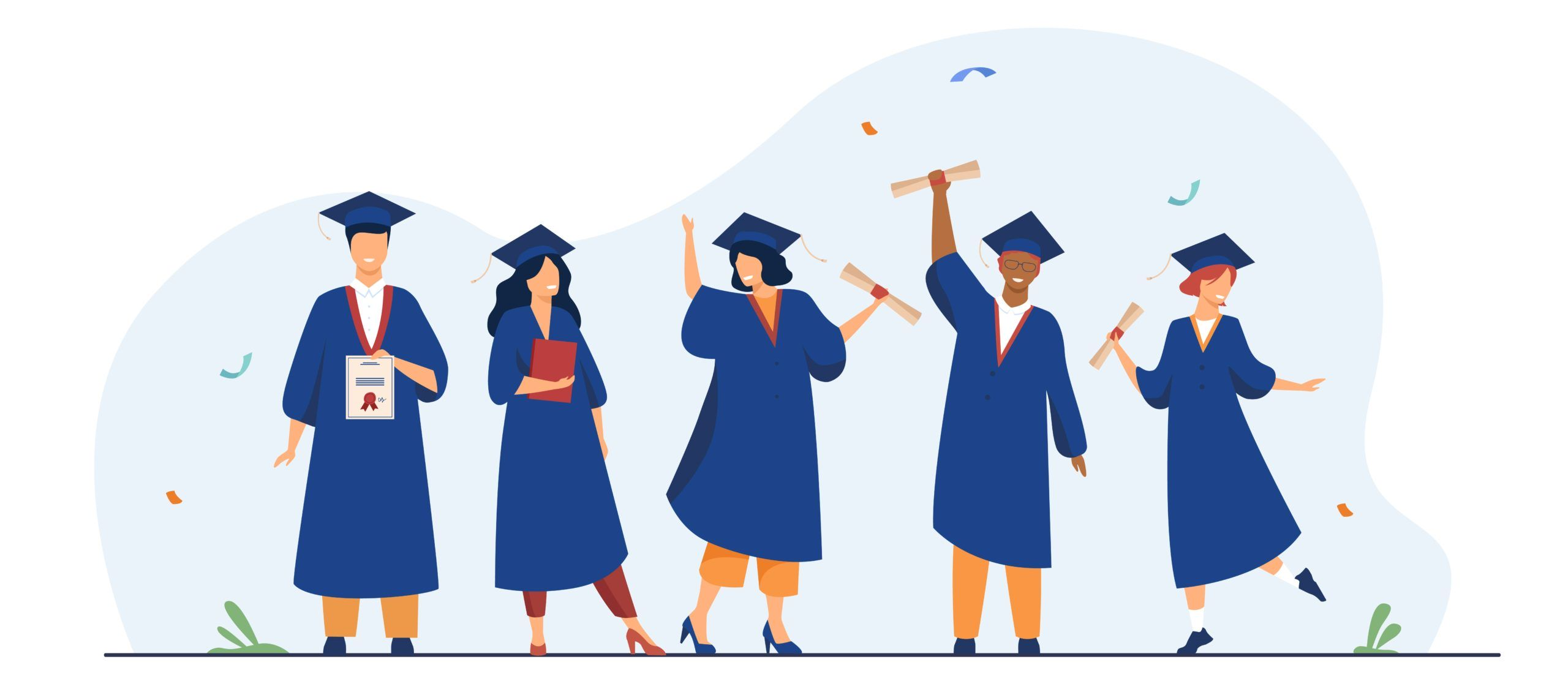 Happy diverse students celebrating graduation from school or colleges, holding diplomas and certificates. Flat vector illustration for education, university party, academic success concept